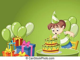 Cartoon boy at birthday