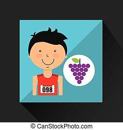 cartoon boy athlete with grape vector illustration eps 10