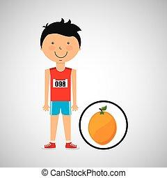 cartoon boy athlete with orange