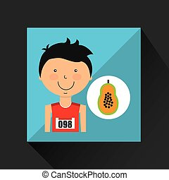 cartoon boy athlete with papaya half