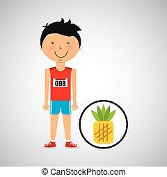 cartoon boy athlete with pineapple