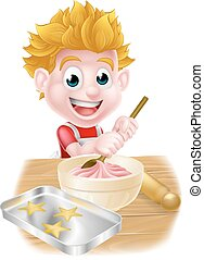 Cartoon Boy Baking