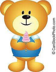 Cartoon Boy Bear Eating Ice Cream