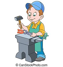 Cartoon boy blacksmith - Cartoon blacksmith worker, isolated...