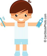 Cartoon boy character holding toothbrush and toothpaste to wash teeth