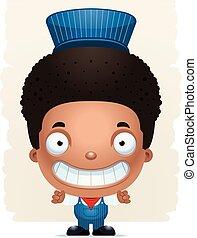 Cartoon Boy Conductor Smiling - A cartoon illustration of a...