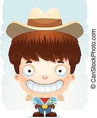 Cartoon Boy Cowboy Smiling