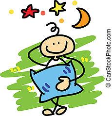 cartoon boy daydreaming