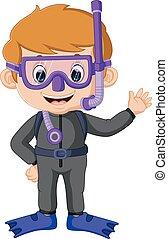 cartoon boy diving