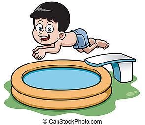 Cartoon boy - Vector illustration of Cartoon boy diving in...