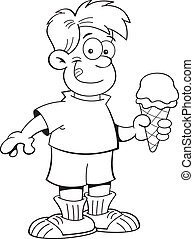 Cartoon boy eating an ice cream con - Black and white...