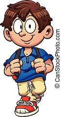 Cartoon boy - Cartoon school boy walking. Vector clip art...