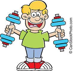 Cartoon boy exercising
