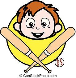 Cartoon Boy Face with Baseball Vector Illustration