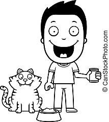 Cartoon Boy Feeding Cat