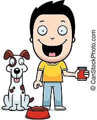 Cartoon Boy Feeding Dog
