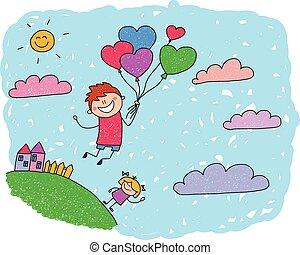 Cartoon boy fly at hot air balloons. Colorful summer...
