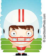 Cartoon Boy Football Player Smiling