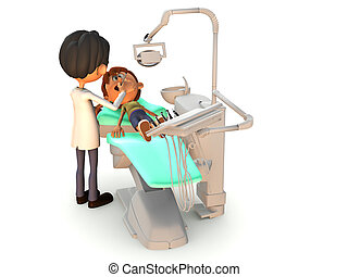 Cartoon boy getting a dental exam. - A young cartoon boy...