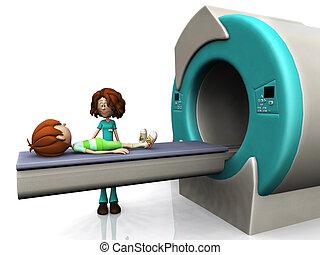 Cartoon boy getting an MRI scan. - A young cartoon boy...