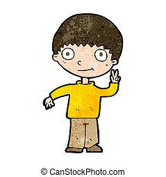 cartoon boy giving peace sign