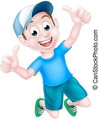 Cartoon Boy Giving Thumbs Up