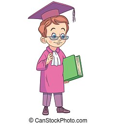 cartoon boy graduating high school