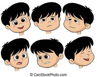 Cartoon Boy Head. Vector Set of Different Emotions Icons.
