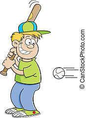 Cartoon boy hitting a baseball
