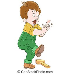 Cartoon boy hitting finger