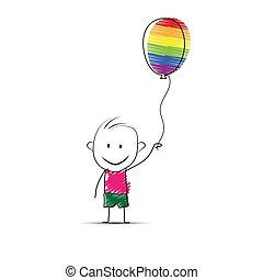 Cartoon boy holding a ball in his hand in the colors of LGBT