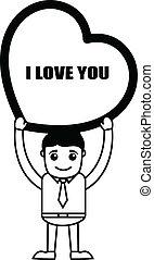 Cartoon Boy Holding a Big Heart