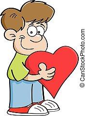 Cartoon Boy Holding a Heart