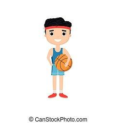 Cartoon boy holding basketball isolated on white background