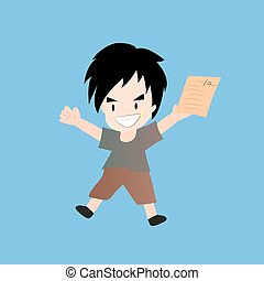 Cartoon boy holding blank paper
