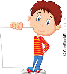 Cartoon boy holding blank paper