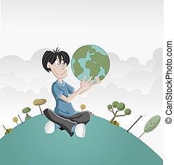 Cartoon boy holding earth