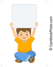 Cartoon boy holding up blank sign template