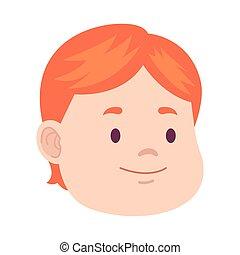 cartoon boy icon, flat design