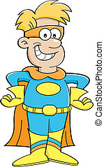 Cartoon boy in a superhero costume