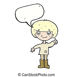 cartoon boy in poor clothing giving thumbs up symbol with speech