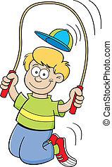 Cartoon boy jumping rope