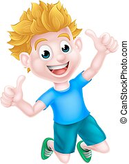 Cartoon Boy Jumping Thumbs Up