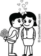 Cartoon Boy Kissing a Girl