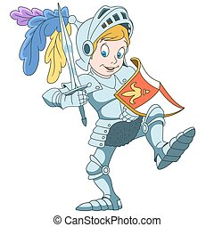 Cartoon boy knight - Cartoon knight with shield and sword,...