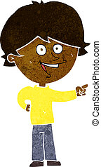 cartoon boy laughing and pointing