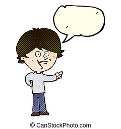 cartoon boy laughing and pointing with speech bubble