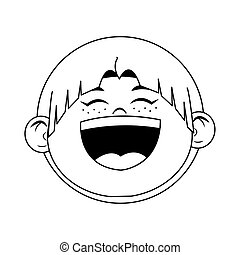 cartoon boy laughing icon, flat design