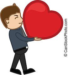 Cartoon Boy Lifting Heavy Heart