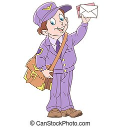 Cartoon boy mail man, postman. Colorful book page design for...